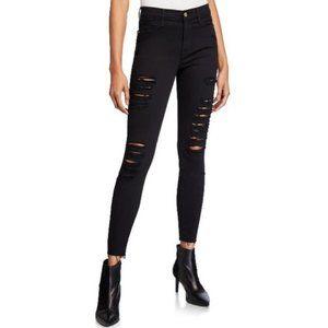 Frame Denim Le Skinny Jeanne Distressed Black Jean
